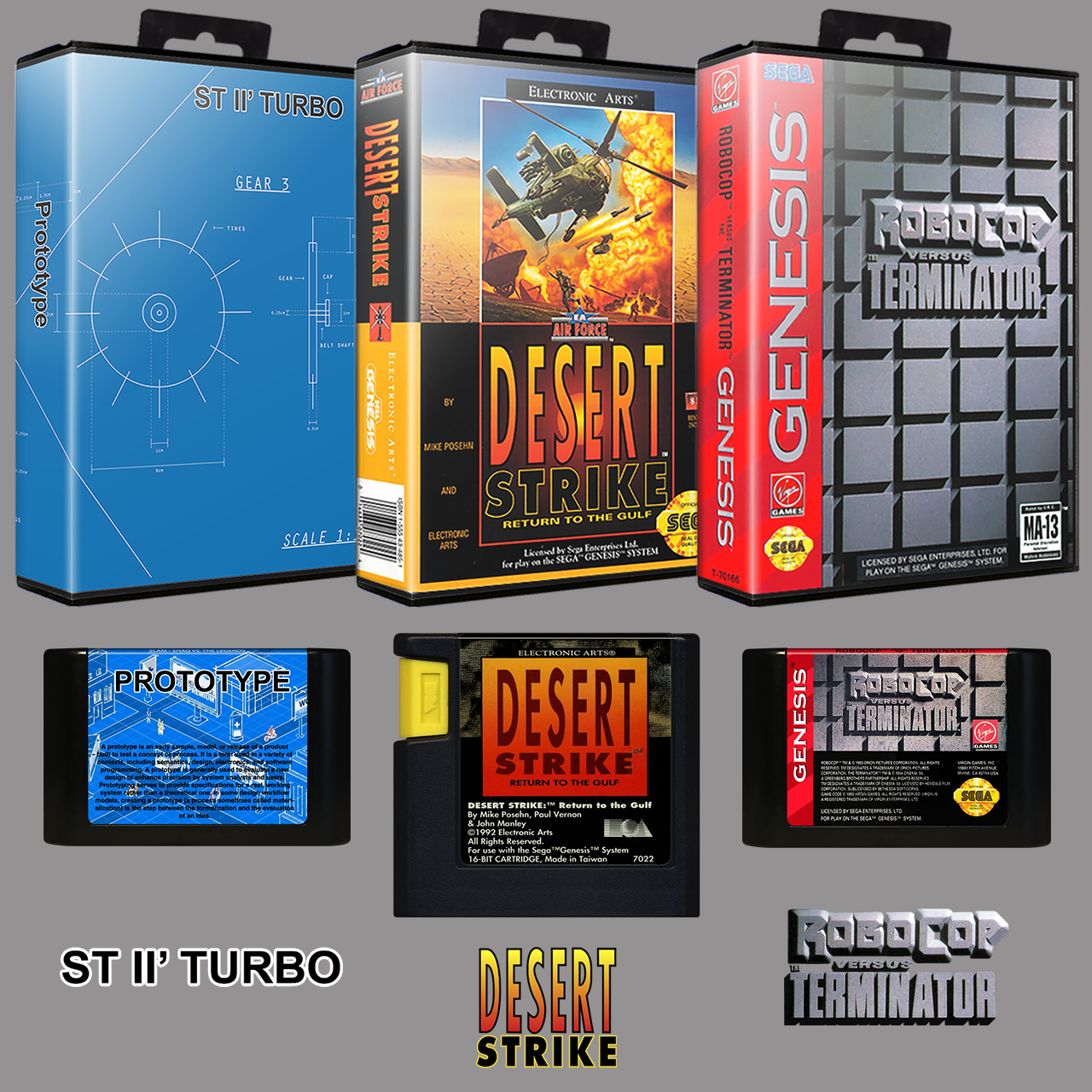 Sega Genesis USA No-Intro Art Pack (3D Boxes, 2D Carts, Logos)
