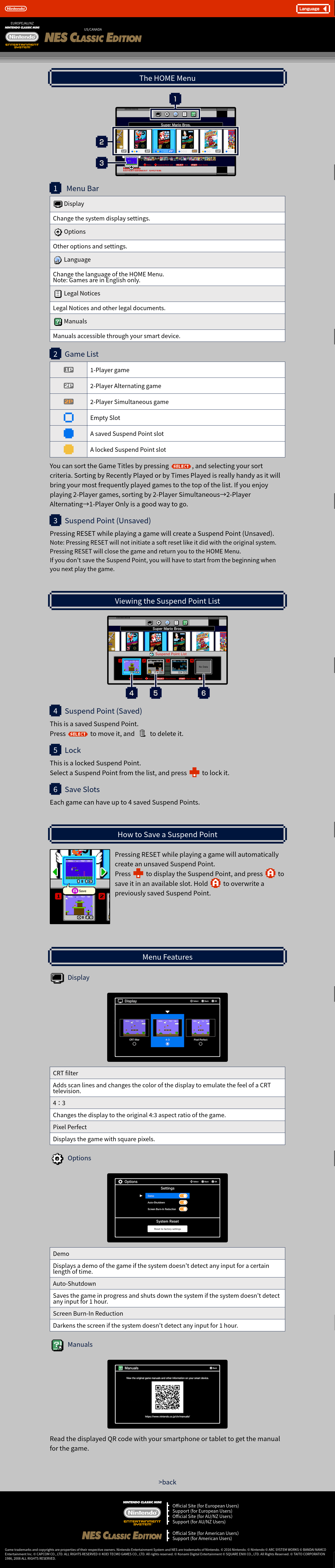 NES Classic Edition Webpage manuals