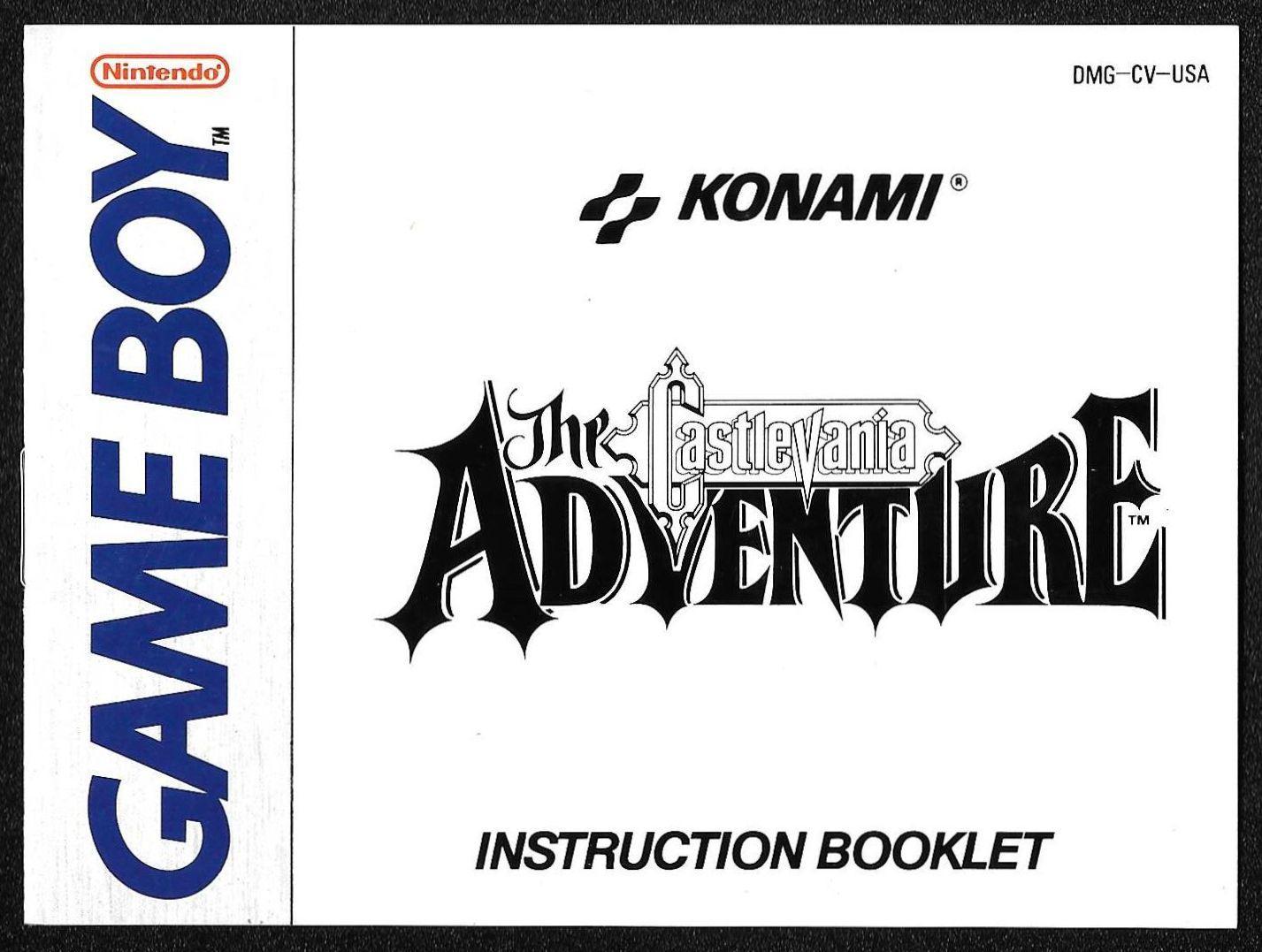 Castlevania The Adventure manual (GB)
