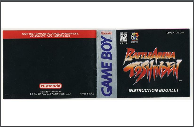 PDF Battle Arena Toshinden manual gameboy