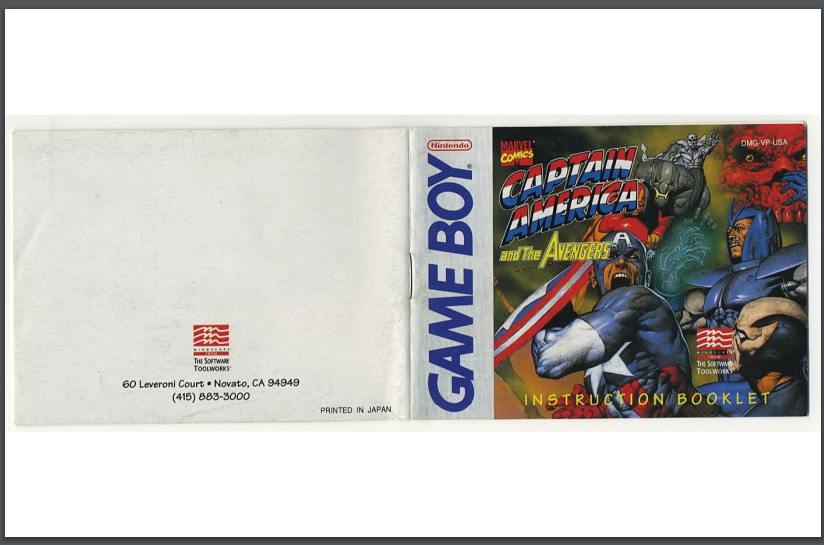 PDF Captain America and the Avengers manual gameboy